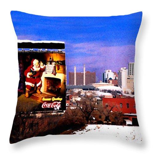 City Throw Pillow featuring the photograph Kansas City Skyline at Christmas by Steve Karol