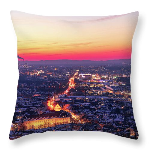 Karlsruhe Throw Pillow featuring the photograph Karlsruhe in winter at sunset by Hannes Roeckel