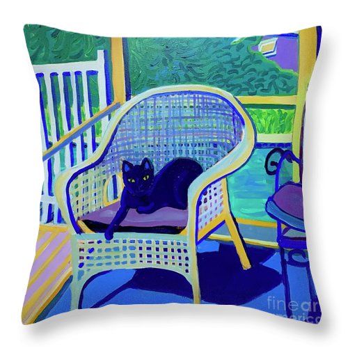 Black Cat Throw Pillow featuring the painting King Louis in the Screened Porch by Debra Bretton Robinson