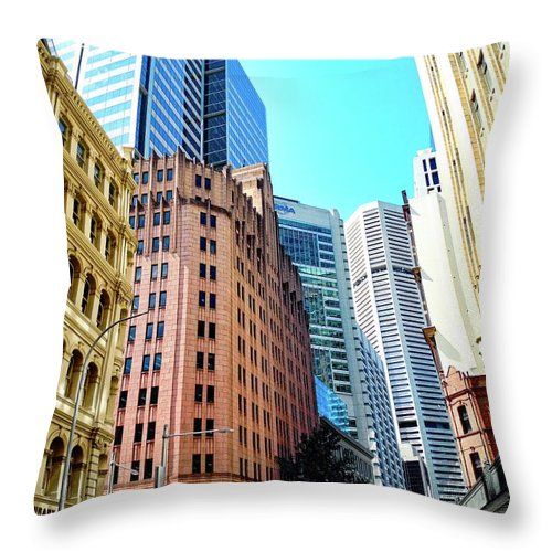 King Street Buildings Throw Pillow featuring the photograph King Street Buildings in Sydney by Kirsten Giving
