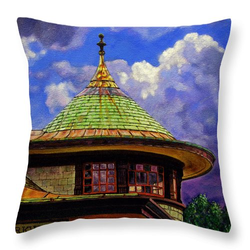 Kirkwood Throw Pillow featuring the painting Kirkwood Train Station by John Lautermilch