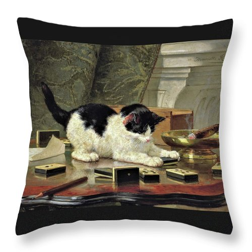 Kitten's Game Throw Pillow featuring the painting Kitten's Game - Digital Remastered Edition by Henriette Ronner-Knip