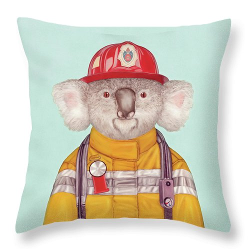 Throw Pillow featuring the painting Koala Firefighter by Animal Crew