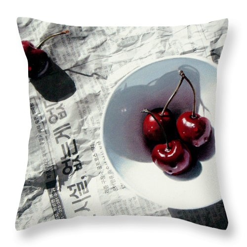 Cherries Throw Pillow featuring the painting Korean Cherries by Dianna Ponting