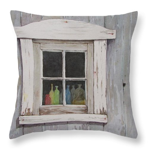 Quebec Throw Pillow featuring the painting Lac Beauport Window by Mary Ellen Mueller Legault