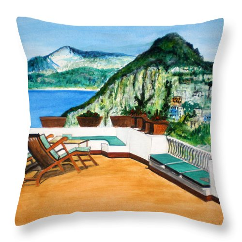Landscape Water Seascape Art Mountains Acrylic Lounge Chairs Green Sky Blue Flowers Red Throw Pillow featuring the painting Landscape Italy by Manjiri Kanvinde