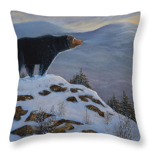 Wildlife Throw Pillow featuring the painting Last Look Black Bear by Frank Wilson