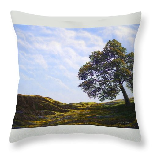 Landscape Throw Pillow featuring the painting Lava Rock And Flowers by Frank Wilson
