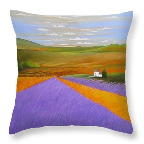 Country Throw Pillow featuring the painting Lavendar Fields by Carol Sabo