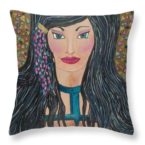 Sexy Throw Pillow featuring the painting Layla by J Andrel