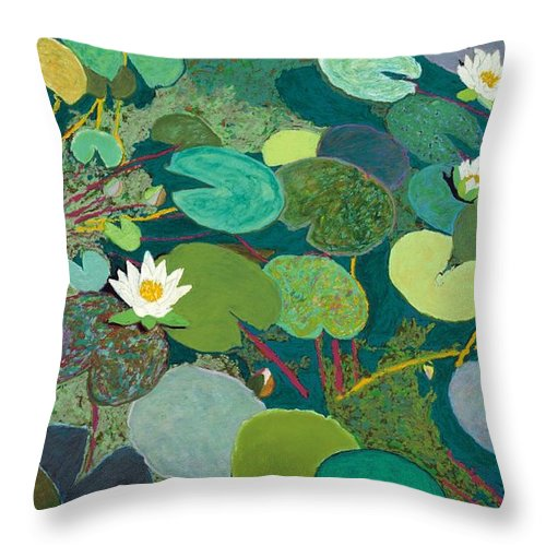 Landscape Throw Pillow featuring the painting Lazy Pond by Allan P Friedlander