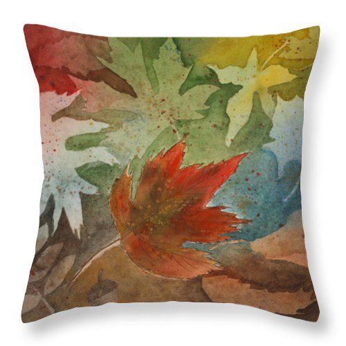 Leaves Throw Pillow featuring the painting Leaves II by Patricia Novack