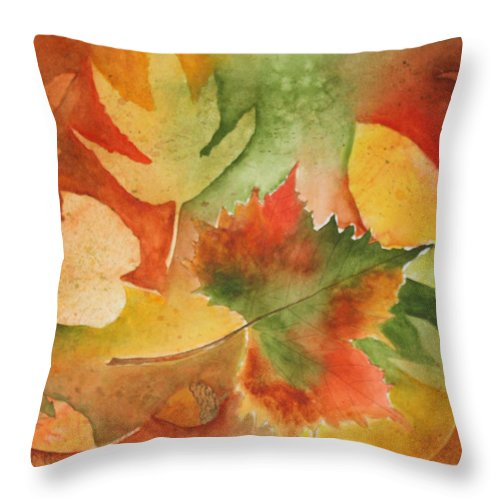 Leaves Throw Pillow featuring the painting Leaves III by Patricia Novack