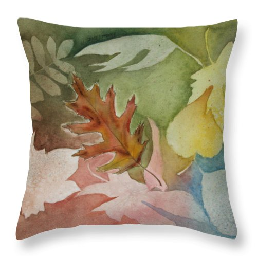 Leaves Throw Pillow featuring the painting Leaves IV by Patricia Novack