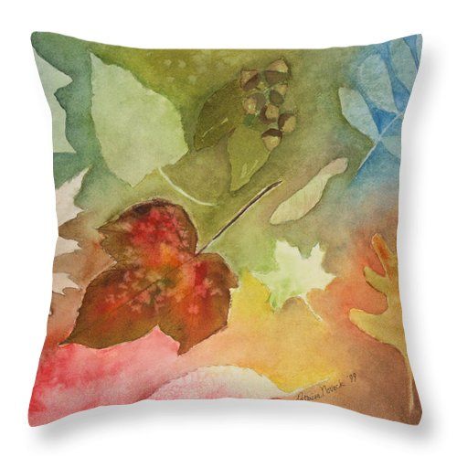 Leaves Throw Pillow featuring the painting Leaves V by Patricia Novack