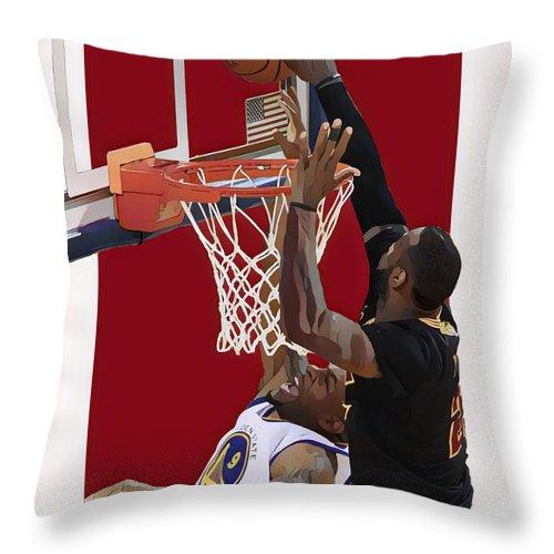 Lebron James Throw Pillow featuring the mixed media Lebron James Cleveland Cavaliers Oil Art by Joe Hamilton
