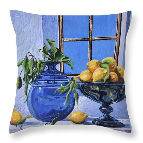 Original Painting Throw Pillow featuring the painting Lemons by Sinisa Saratlic