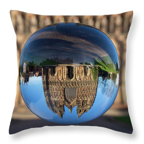 Lichfield Throw Pillow featuring the photograph Lichfield lens ball by Steev Stamford