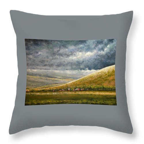 Landscape Throw Pillow featuring the painting Lightburst-jackson Hole by Jim Gola