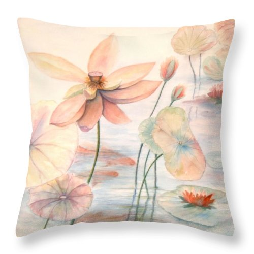 Lily Pads And Lotus Blossoms Throw Pillow featuring the painting Lily Pads by Ben Kiger