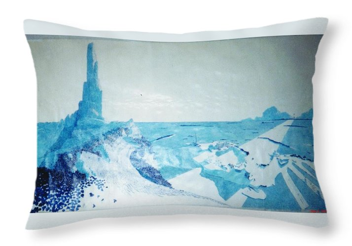 Landscape Throw Pillow featuring the painting Line of Sight by A Robert Malcom