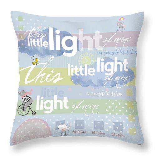 Children's Art; Light Of Mine; Christian Nursery Rhymes; Nursery Rhymes Throw Pillow featuring the digital art Little Light by Claire Tingen