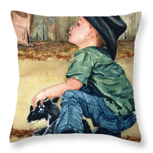 Children Throw Pillow featuring the painting Little Ranchhand by Karen Ilari