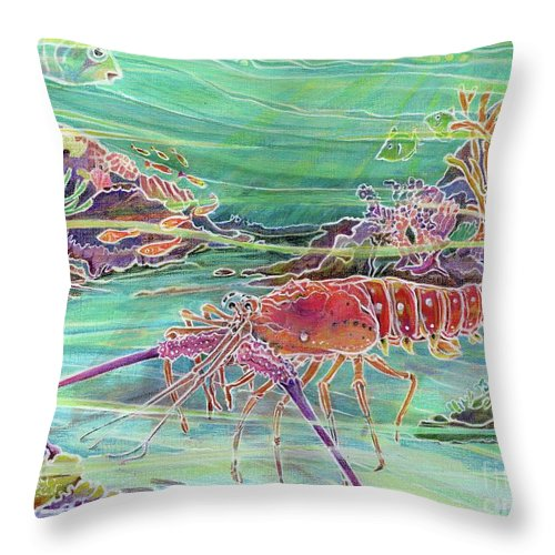 Underwater Throw Pillow featuring the painting Lobster Crossing by Amelia at Ameliaworks