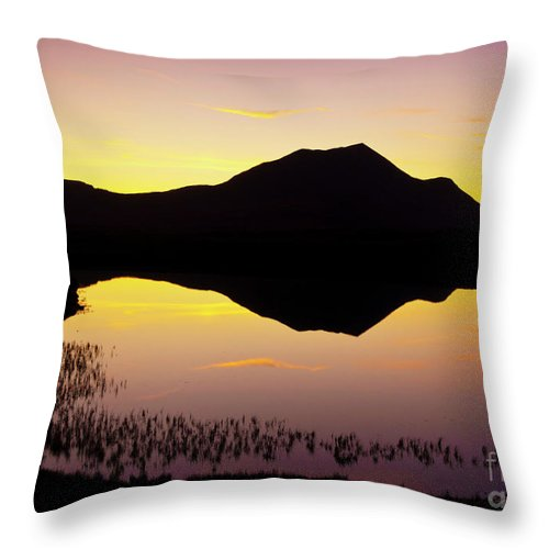 Silhouette Throw Pillow featuring the photograph Lochan An Ais Sunset, Sutherland, Scotland by Neale And Judith Clark