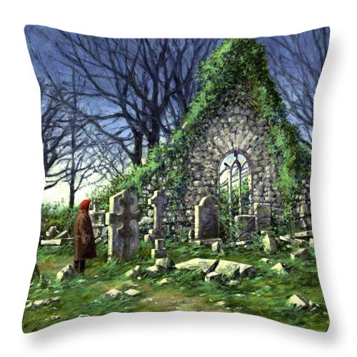 Landscape Throw Pillow featuring the painting Londonderry Stones by Jim Gola
