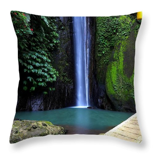 Waterfall Throw Pillow featuring the digital art Lonely waterfall by Worldvibes1
