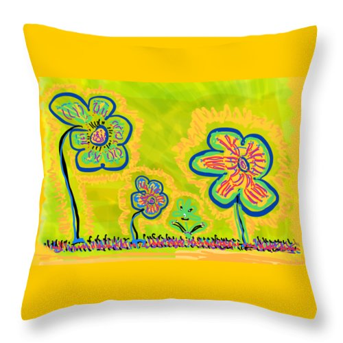 Spring Throw Pillow featuring the drawing Looking for Spring by Pam Roth O'Mara