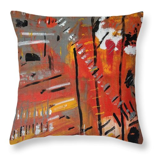 Colorado Throw Pillow featuring the painting Looking Like October by Pam Roth O'Mara