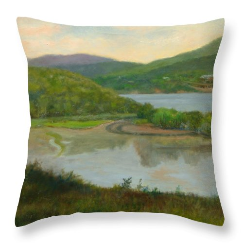 Landscape Throw Pillow featuring the painting Looking South From St. Basil by Phyllis Tarlow