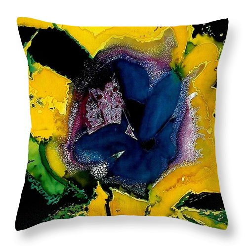 Flora Throw Pillow featuring the painting Lotus - Midnight Bloom by Ferril Nawir