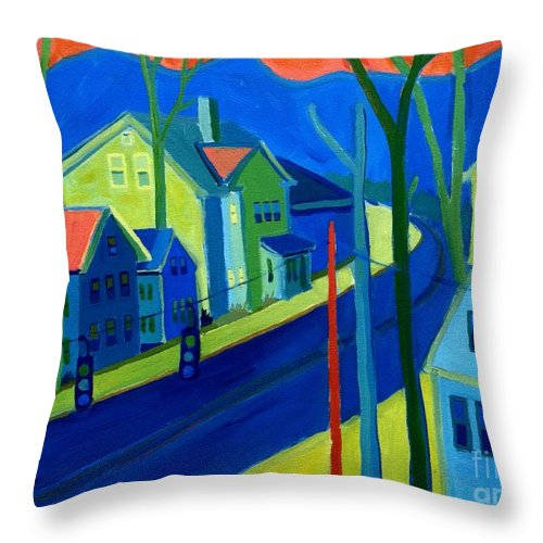 Cityscape Throw Pillow featuring the painting Lowell Deluge by Debra Bretton Robinson