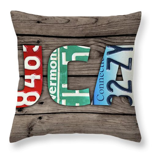 Lucas Throw Pillow featuring the mixed media Lucas Name Vintage License Plate Art Lettering Sign by Design Turnpike