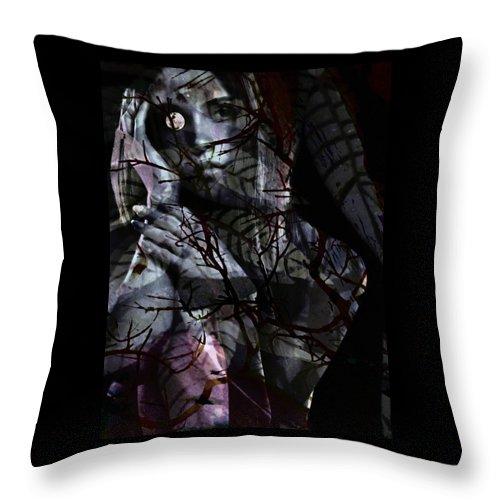 Woman Throw Pillow featuring the digital art Luna by Gunilla Munro Gyllenspetz