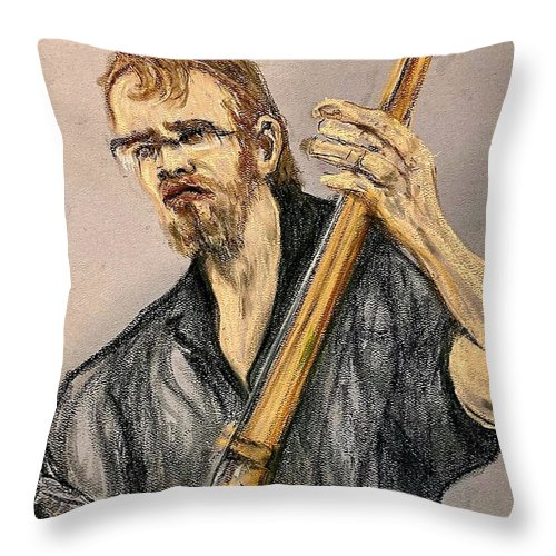 North Mississippi Allstars Throw Pillow featuring the pastel Luther Dickenson by Pete Maier