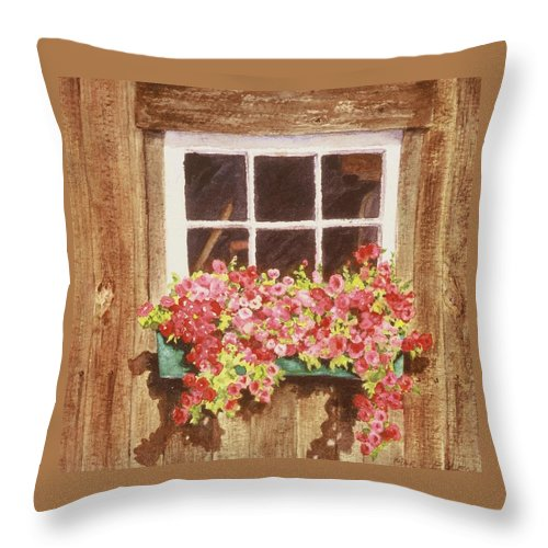 Old Barn Throw Pillow featuring the painting Lynn's Window by Mary Ellen Mueller Legault