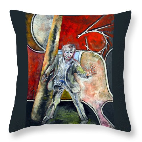 Male Throw Pillow featuring the painting Mad World by Tom Conway