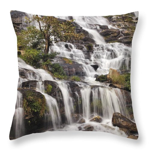 3scape Throw Pillow featuring the photograph Mae Ya Waterfall by Adam Romanowicz