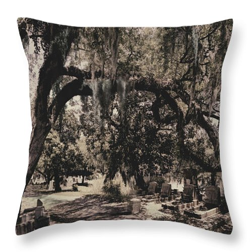 Castle Throw Pillow featuring the painting Magnolia Cemetery I by James Christopher Hill