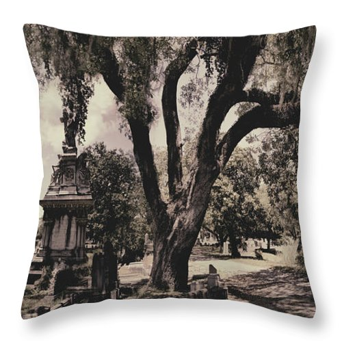 Castle Throw Pillow featuring the photograph Magnolia Cemetery by James Christopher Hill