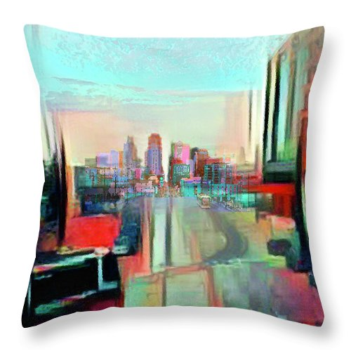 Main St. Throw Pillow featuring the mixed media Main Street Expression by Steve Karol