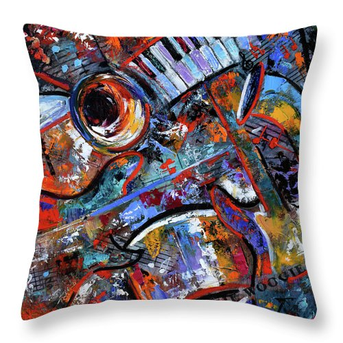 Abstract Throw Pillow featuring the painting Make Music #3 by Debra Hurd