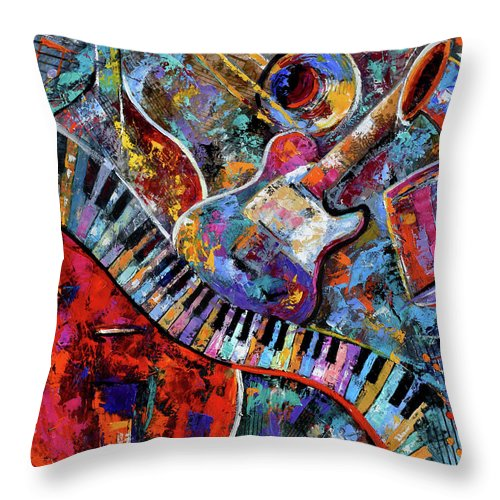 Abstract Throw Pillow featuring the painting Make Music by Debra Hurd