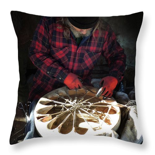 Native American Throw Pillow featuring the photograph Making of a Ring Drum by Nancy Griswold