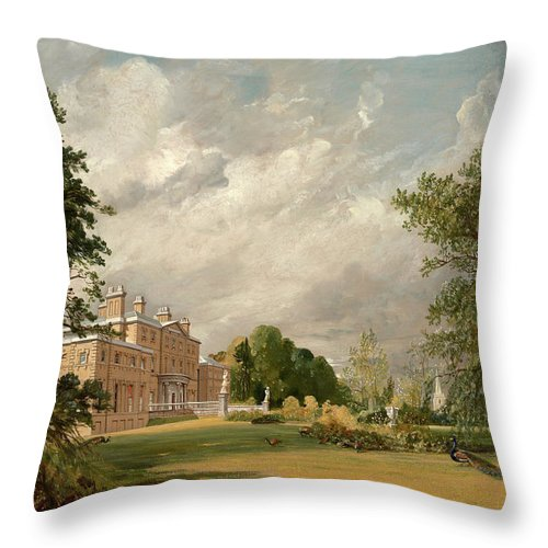 John Constable Throw Pillow featuring the painting Malvern Hall, 1821 by John Constable