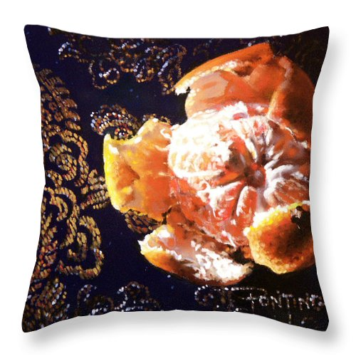 Mandarin Throw Pillow featuring the painting Mandarin by Dianna Ponting